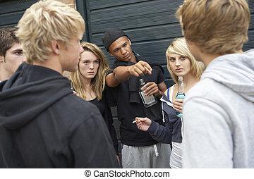 groupe, menacer, ados, ensemble, dehors, pendre, boire, dehors