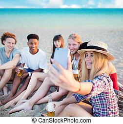 groupe, mobile, selfie, téléphone, marques, ami, heureux