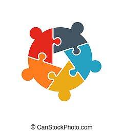groupe, morceaux, équipe, puzzle, collaboration, cinq, personne, professionnels, puzzle, concept., logo., bâtiment