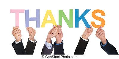 groupe, mot, remerciement, tenant mains