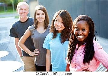 groupe, multi-ethnique, ados