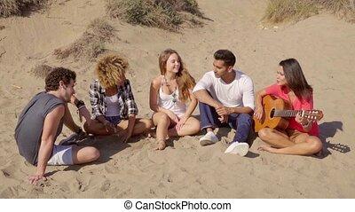 groupe multiracial, jeune, guitare, amis, jouer