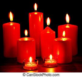 groupe, noir, bougies, arrière-plan.
