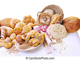 groupe, nourriture, pain frais