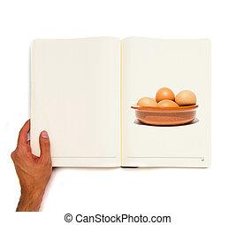 groupe, oeufs, céramique, bol, book., imprimé, blanc, intérieur