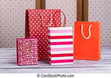 groupe, papier, achats, bags., multicolore