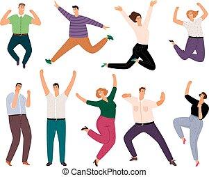 groupe, personnes, habillement, gens., hommes, jeune, désinvolte, sauter, adulte, sourire, femmes, style de vie, sourire, divers, dessin animé, heureux