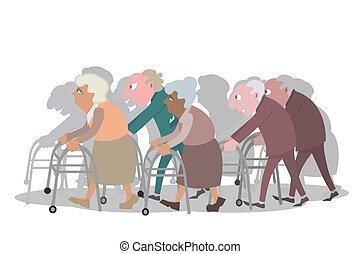 groupe, pieszy, stary, piechurzy, ludzie