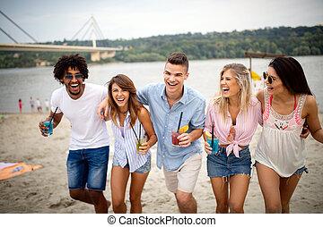 groupe, plage, ensoleillé, day., amusement, amis, avoir