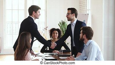 groupe, planche, table, réunion, mains, secousse, deux,...