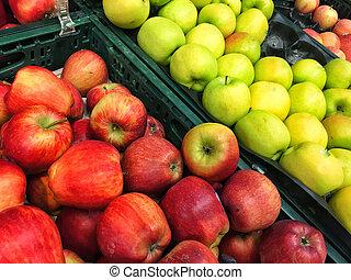 groupe, pommes, multicolore