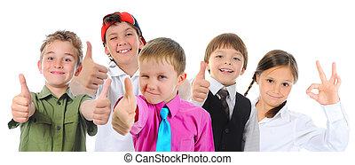 groupe, poser, enfants