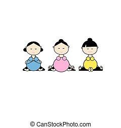 groupe, pregnant, yoga, conception, ton, femmes