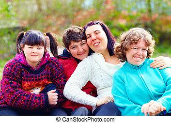 groupe, printemps, parc, incapacité, amusement, femmes, avoir, heureux