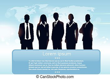 groupe, professionnels, équipe, silhouette, cadres