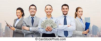 groupe, professionnels, argent, dollar, espèces