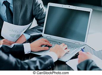 groupe, professionnels, bureau., réunion, heureux