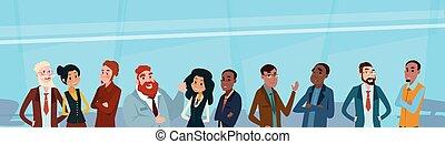 groupe, professionnels, businesspeople, mélange, course, équipe