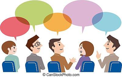 groupe, professionnels, communication, bavarder, bulle