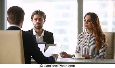 groupe, professionnels, contrat, négocier, sous, réunion, formel