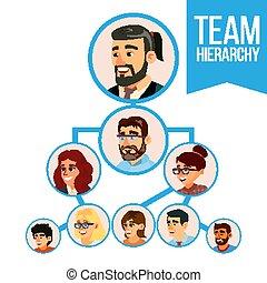 groupe, professionnels, diagramme, illustration, projet, teamwork., vector., équipe, employé, organisation, organization.