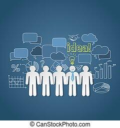 groupe, professionnels, discussion, idée, vecteur, collaboration