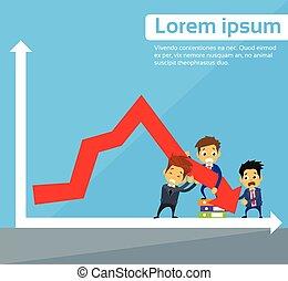groupe, professionnels, graphique, bas flèche, automne, financier, crise, rouges