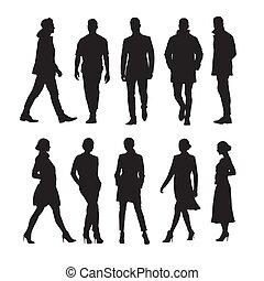 groupe, professionnels, hommes, isolé, silhouettes, vecteur, femmes