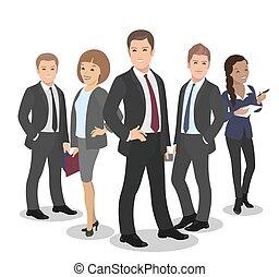 groupe, professionnels, illustration, vecteur, équipe, divers