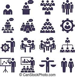 groupe, professionnels, set., icônes, vecteur, illustrations.