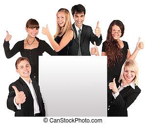 groupe, professionnels, texte, papier, ok, geste