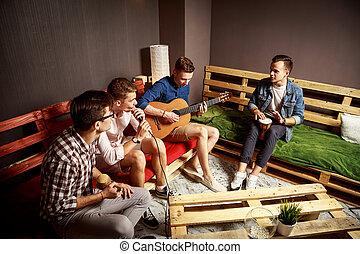 groupe, quatre, studio, pendre, amis, dehors