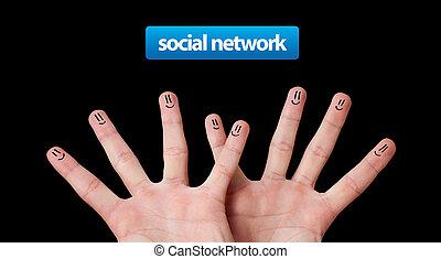 groupe, réseau, doigt, social, smileys, heureux