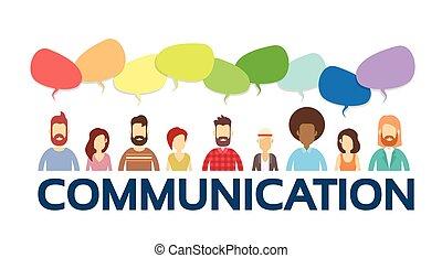 groupe, réseau, gens, communication, bavarder, social, bulle, désinvolte