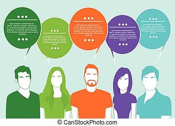groupe, réseau, gens, communication, bavarder, social