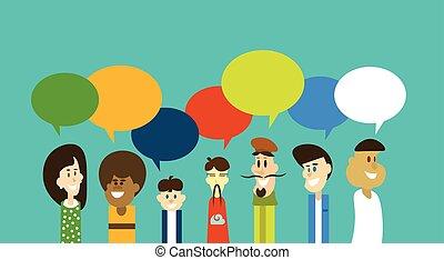 groupe, réseau, gens, communication, mélange, course, bavarder, social, bulle