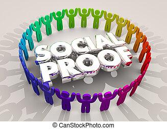 groupe, réseau, gens, illustration, social, cercle, preuve, 3d