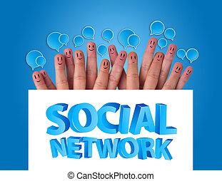 groupe, réseau, whiteboard, signe, smileys, doigt, tenue, social, heureux