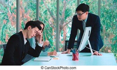 groupe, réunion affaires, travail, conflit, fâché, problème, personne