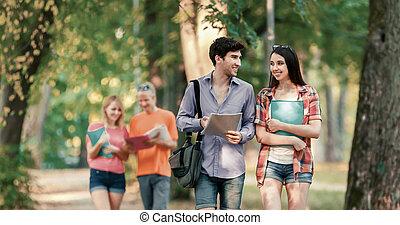 groupe, réussi, ensoleillé, parc, étudiants, livres, jour