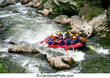 groupe, rafting