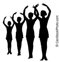 groupe, rang, élevé, debout, ballerines, mains