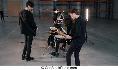 groupe, repetition., instruments, leur, préparer, membres,...