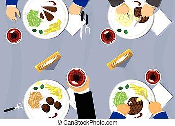 groupe, restaurant, sommet, gens, manger, table verre, vue, plaques, vin