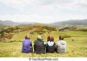 groupe, resting., coureurs, dehors, personne agee, vue., arrière