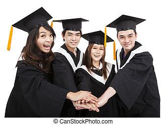groupe, reussite, étudiants, jeune, diplômé, geste, heureux