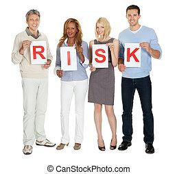 groupe, risque, gens, panneau signe, tenue, illustrer