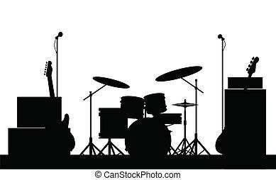 groupe rock, équipement, silhouette