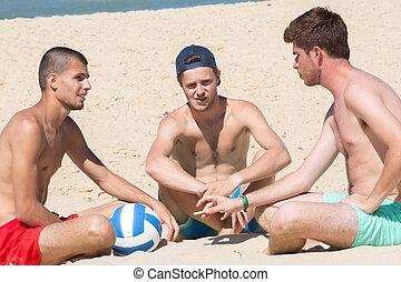 groupe, séance, amis, sourire, mâle, plage