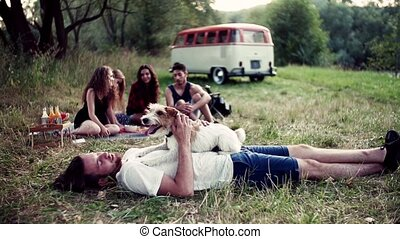 groupe, séance, chien, countryside., jeune, roadtrip, par, herbe, amis